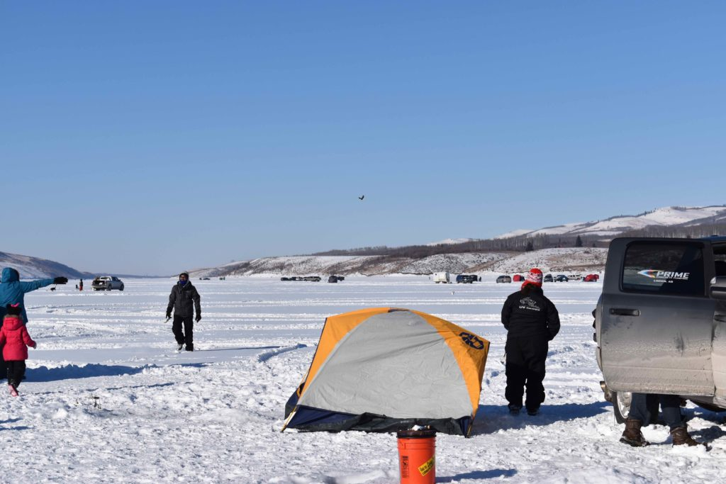 www.IAmCalgary.ca I Am Calgary Ice Fishing Chain Lakes Bald Eagles and fishing groups