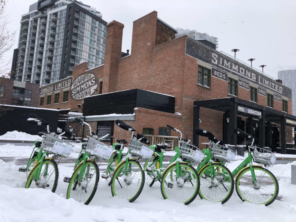 www.IamCalgary.ca I Am Calgary YYC Staycation Alt Hotel East Village Lime Bikes Simmons Building Snow