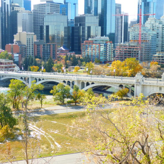 Unhindered views of downtown Calgary, the Bow River, and Centre Street Bridge await you from Rotary Park.